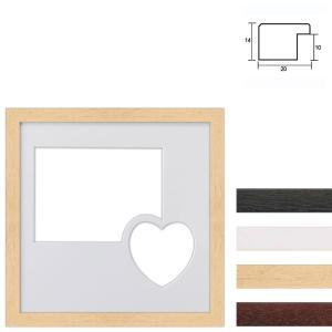 Galleriram av trä i 30x30 cm för 2 foton med hjärta
