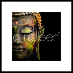 "Inramad bild ""Buddha head"" med aluminiumram C2"