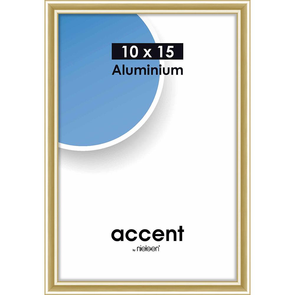 Aluminiumram Accent 10x15 cm | guld blank | standardt glas