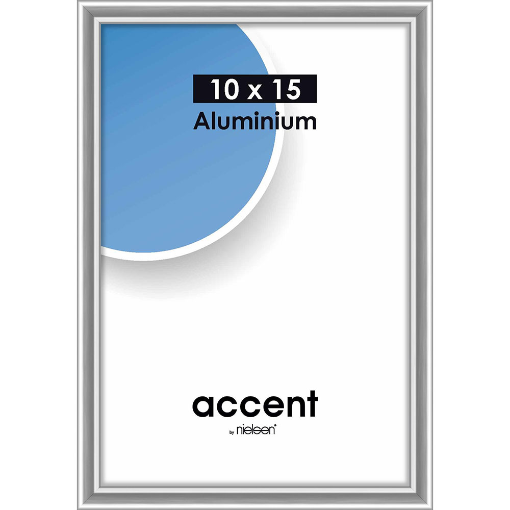 Aluminiumram Accent 10x15 cm | silver blank | standardt glas