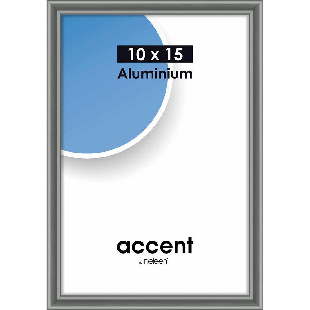 Aluminiumram Accent 10x15 cm | stålgrå | standardt glas
