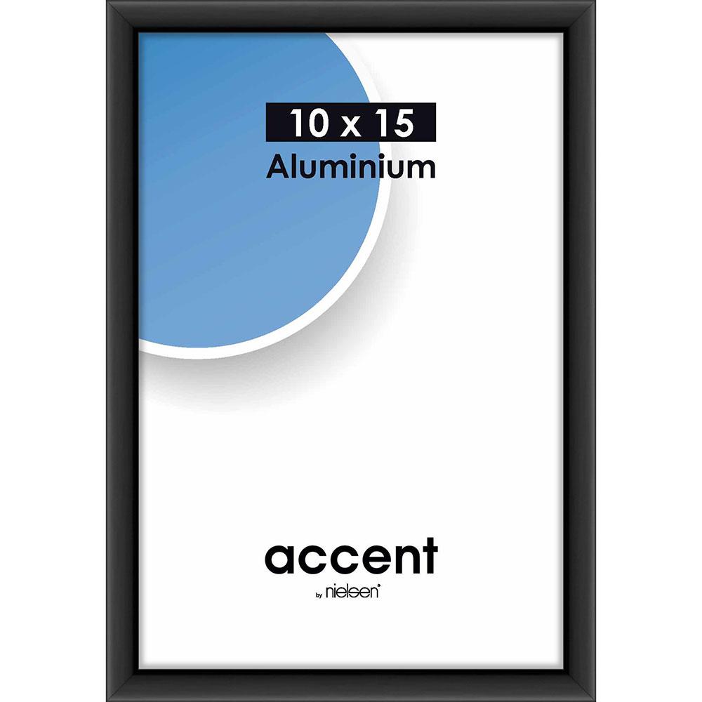 Aluminiumram Accent 10x15 cm   svart matt   standardt glas
