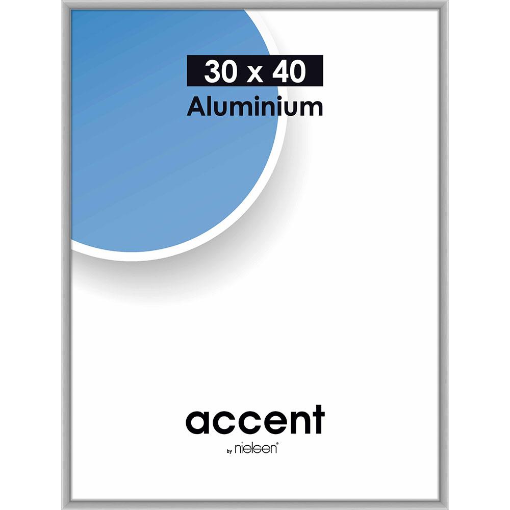 Aluminiumram Accent 30x40 cm | silver matt | standardt glas