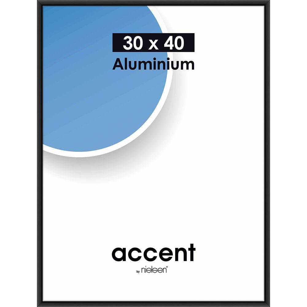 Aluminiumram Accent 30x40 cm | svart matt | standardt glas