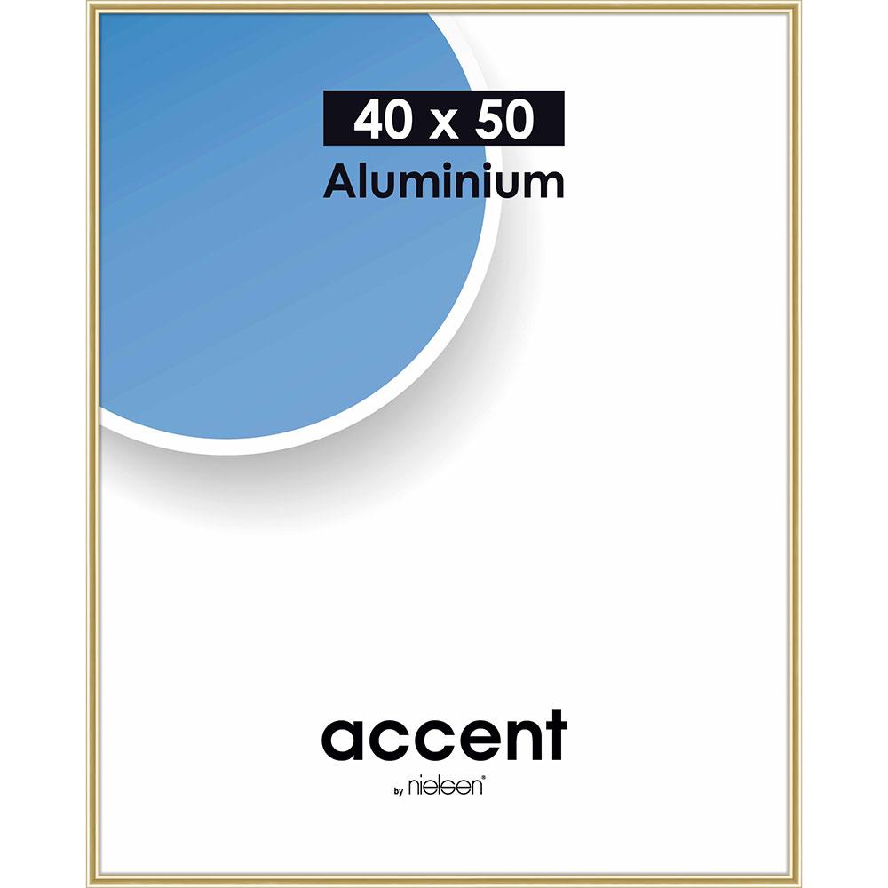 Aluminiumram Accent 40x50 cm | guld blank | standardt glas