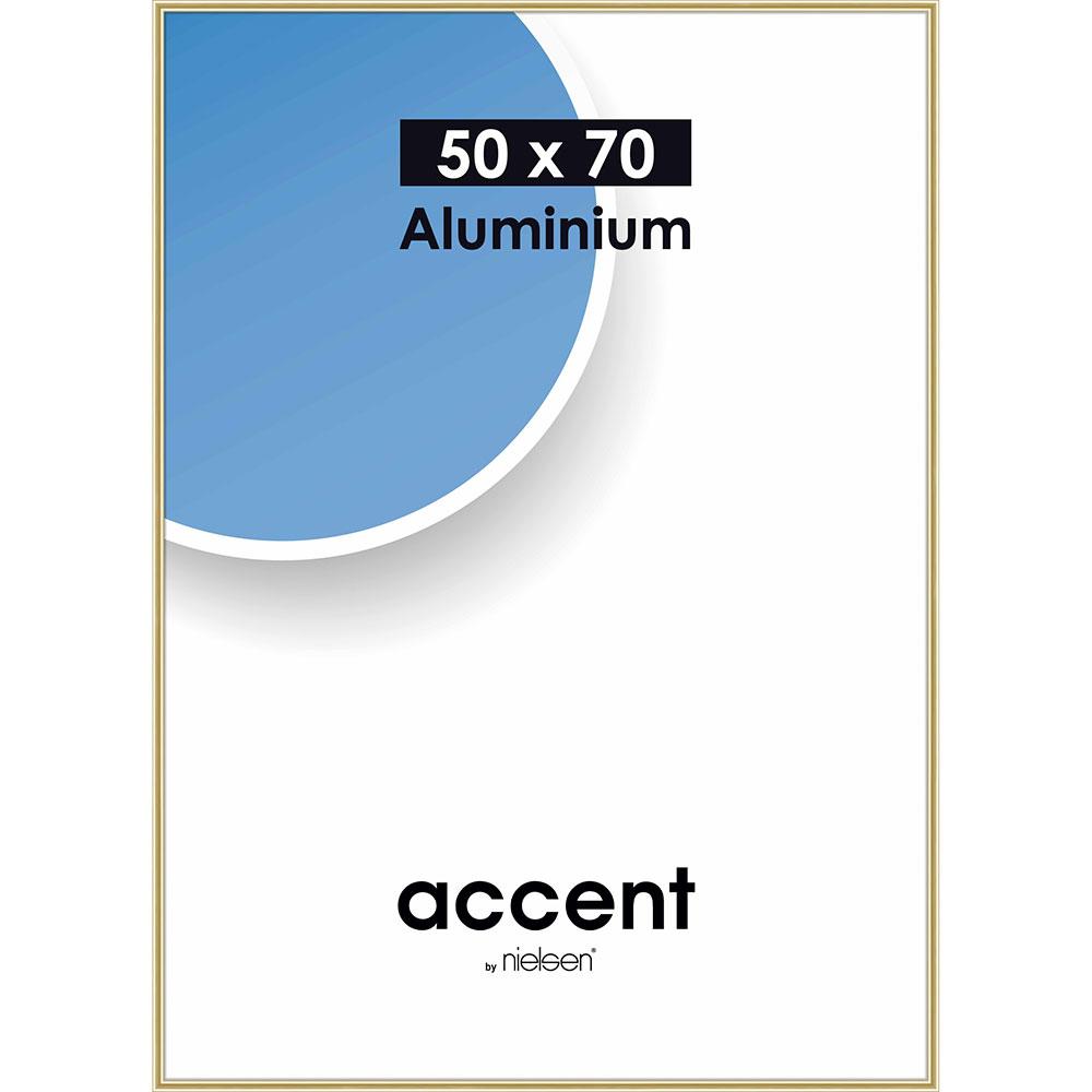Aluminiumram Accent 50x70 cm   guld blank   standardt glas