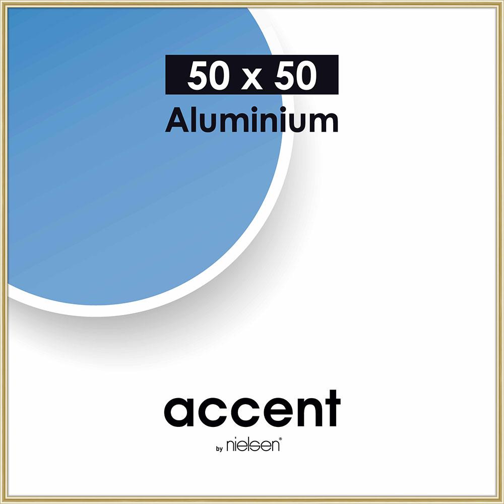 Aluminiumram Accent 50x50 cm | guld blank | standardt glas