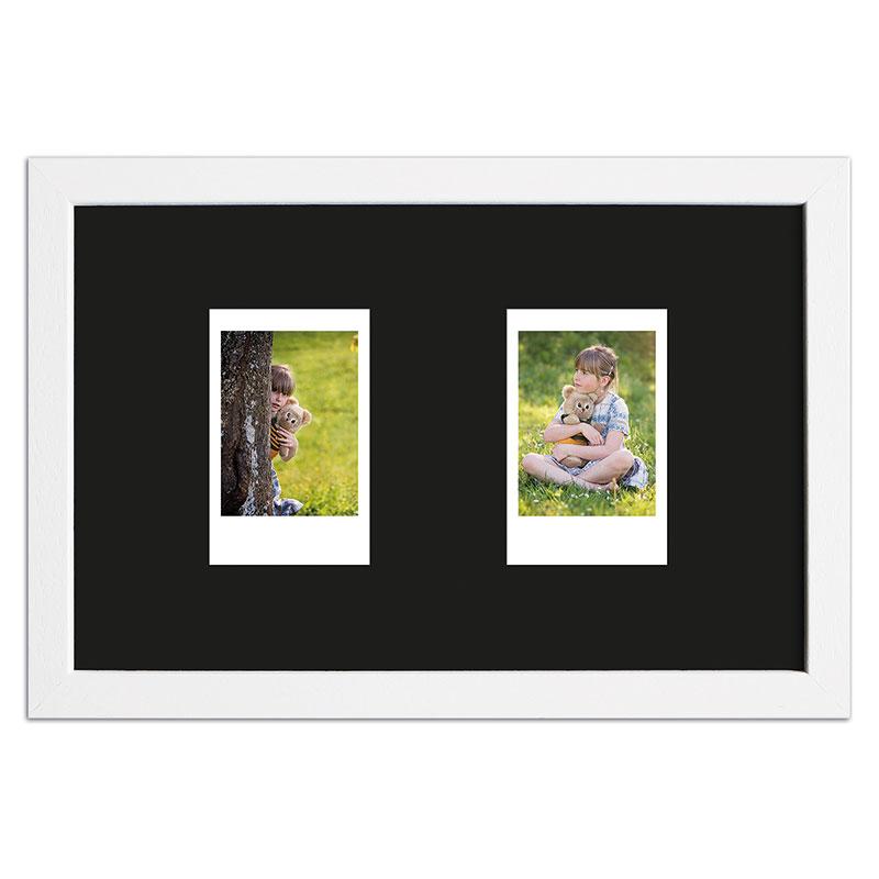 Ram för 2 direktbilder - typ Instax Mini 24,6x15,7 cm   vit, polerad   standardt glas