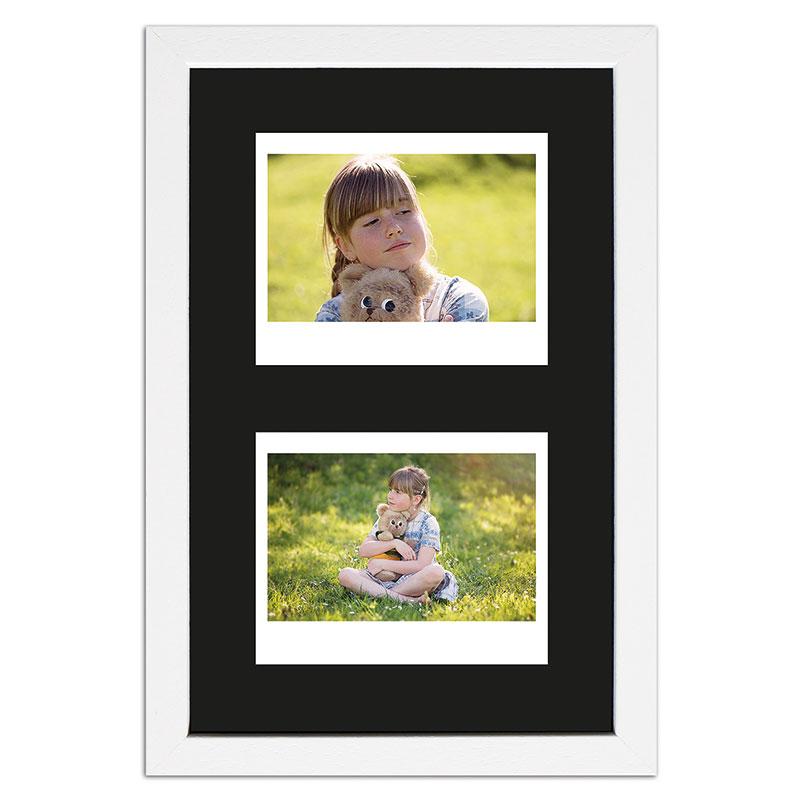 Ram för 2 direktbilder - typ Instax Wide 24,6x15,7 cm | vit, polerad | standardt glas