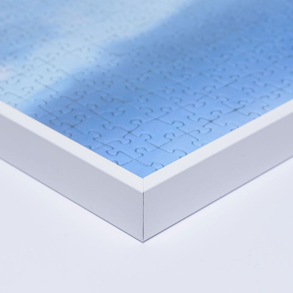 Aluminiumram för pussel för 5000 delar 101x153 cm   vit RAL 9016   Antireflex-Konstglas