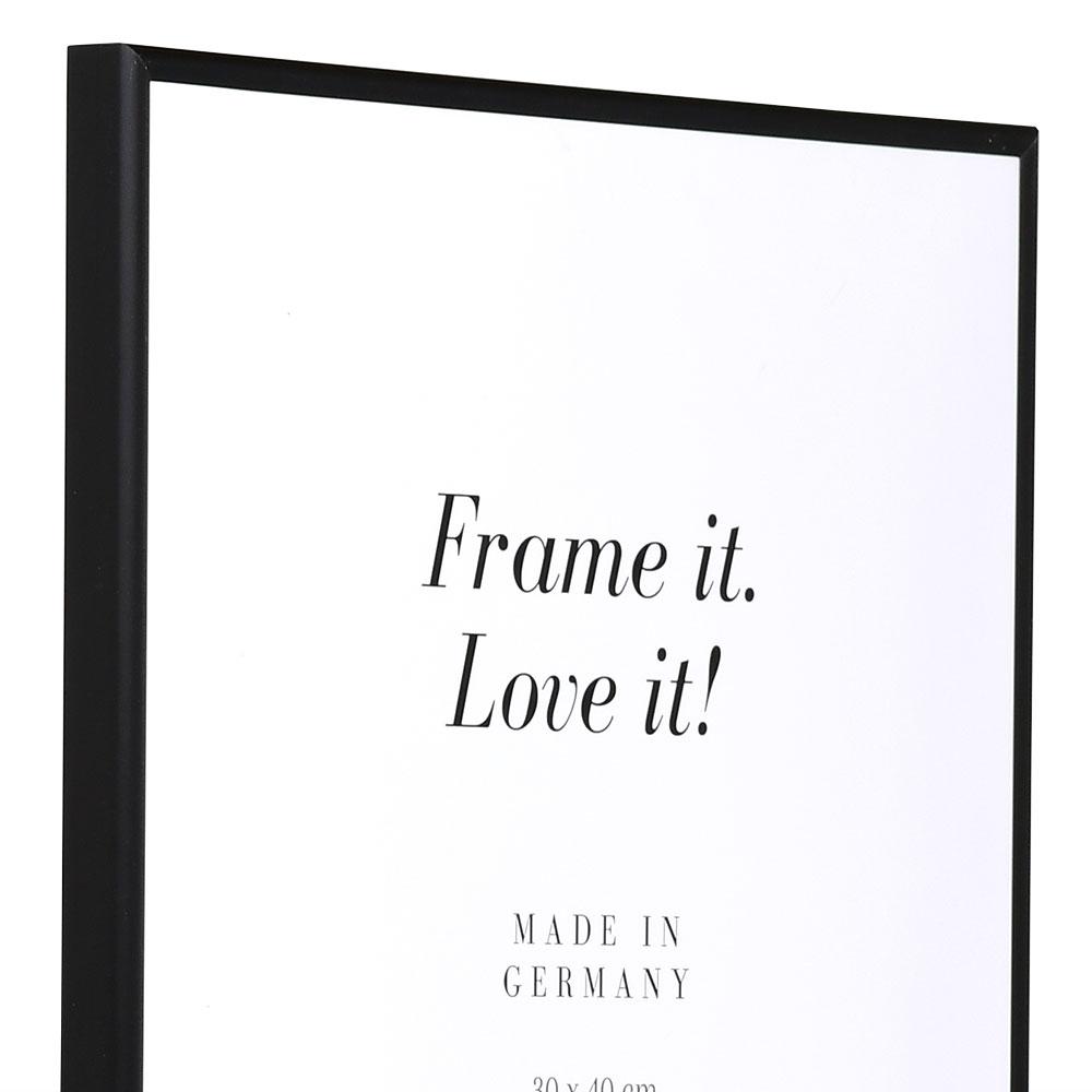 Aluminiumram Econ rund 13x18 cm | svart matt | standardt glas