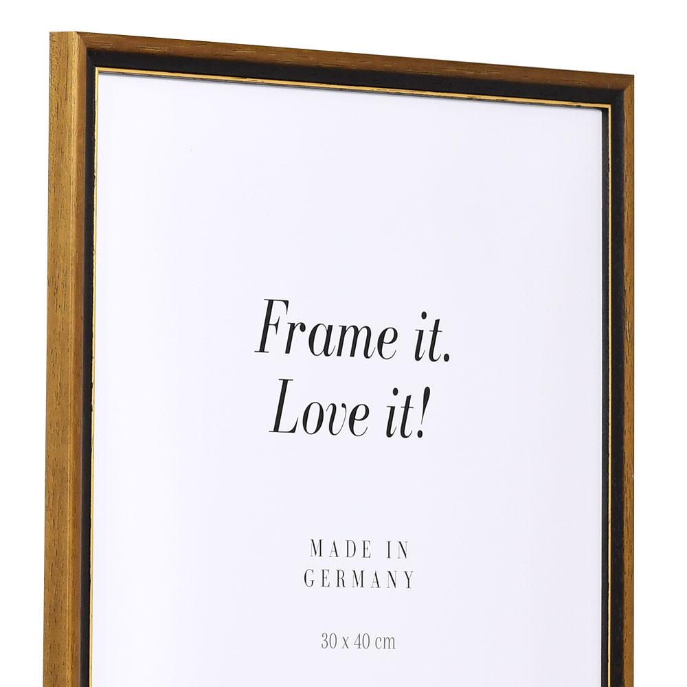 Träram Lyon 13x18 cm | nötbrun-guld | standardt glas