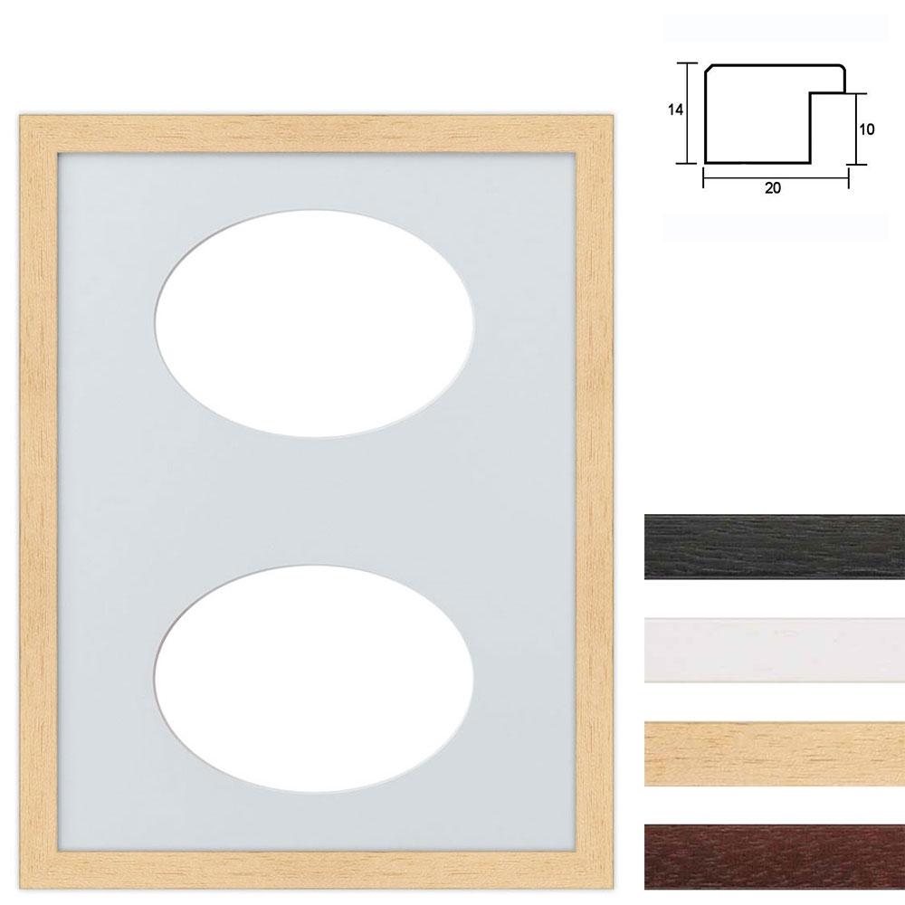 Galleriram av trä i 30x40 cm för 2 foton med oval utsnitt
