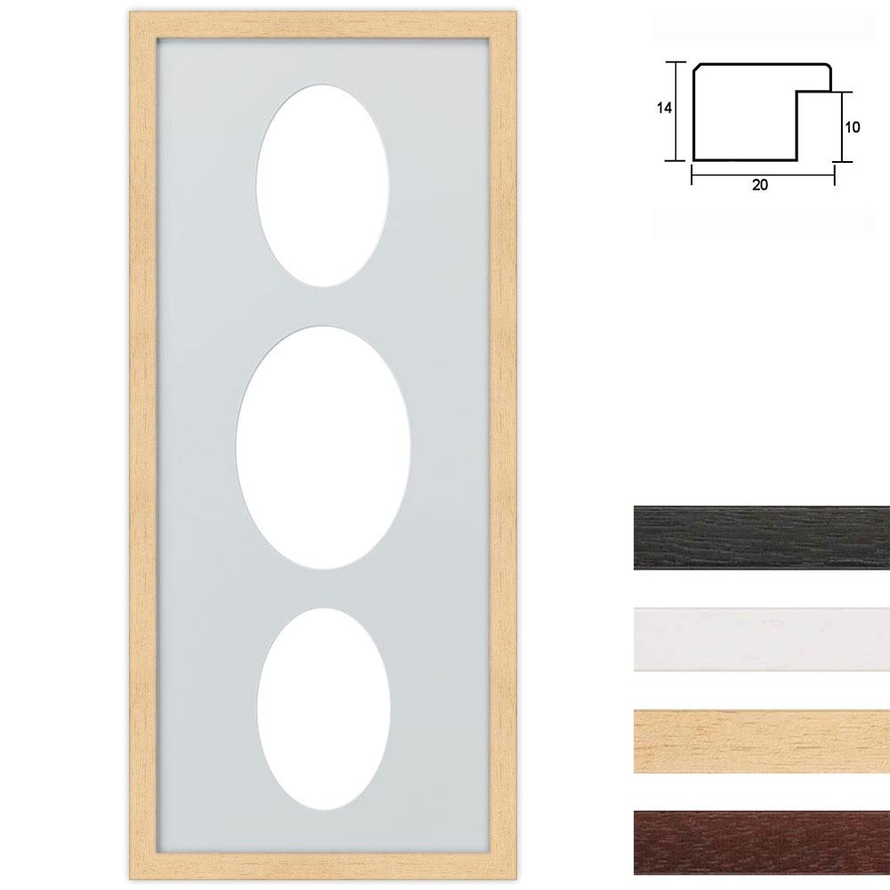 Galleriram av trä i 25x60 cm för 3 foton med oval utsnitt