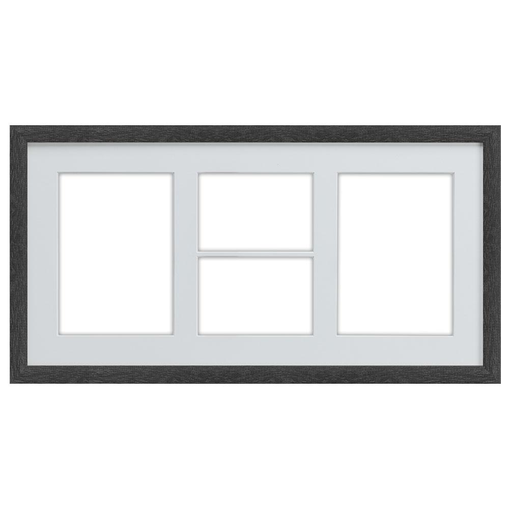 Galleriram av trä i 25x50 cm för 4 foton 25x50 cm (9x13 cm / 13x18 cm) | svart | standardt glas