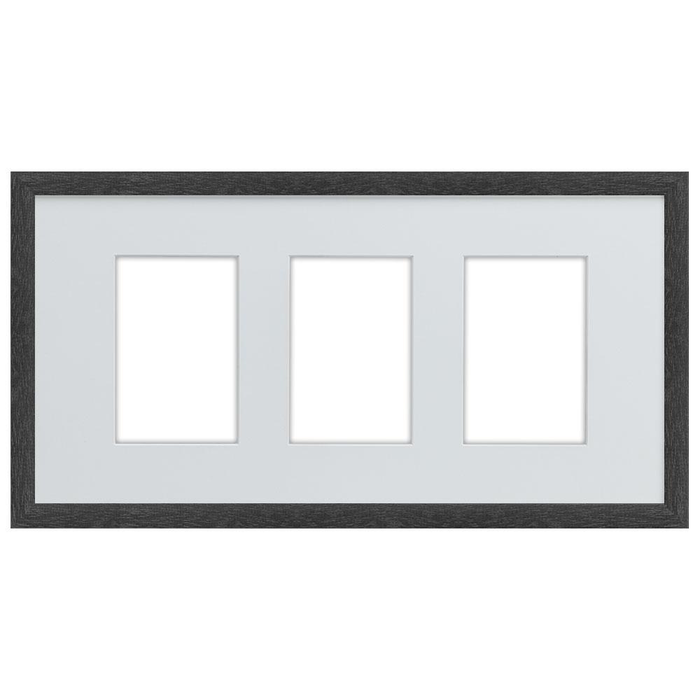 Galleriram av trä i 25x50 cm för 3 foton 25x50 cm (10x15 cm)   svart   standardt glas