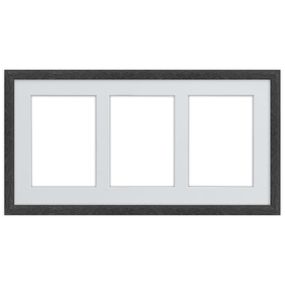 Galleriram av trä i 25x50 cm för 3 foton 25x50 cm (13x18 cm) | svart | standardt glas