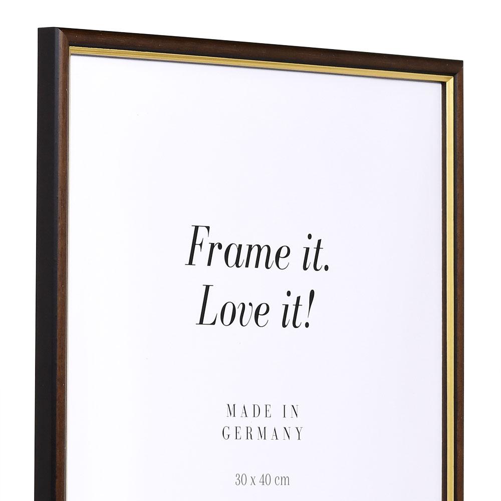 Träram Antony 10x15 cm | nötbrun-guld | standardt glas