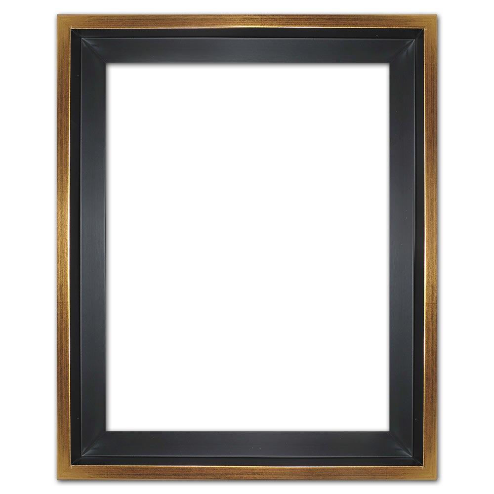 Skuggfogsram Eclipse, svartin efter mått svart med guldkant   Tom ram (utan glas/baksida)