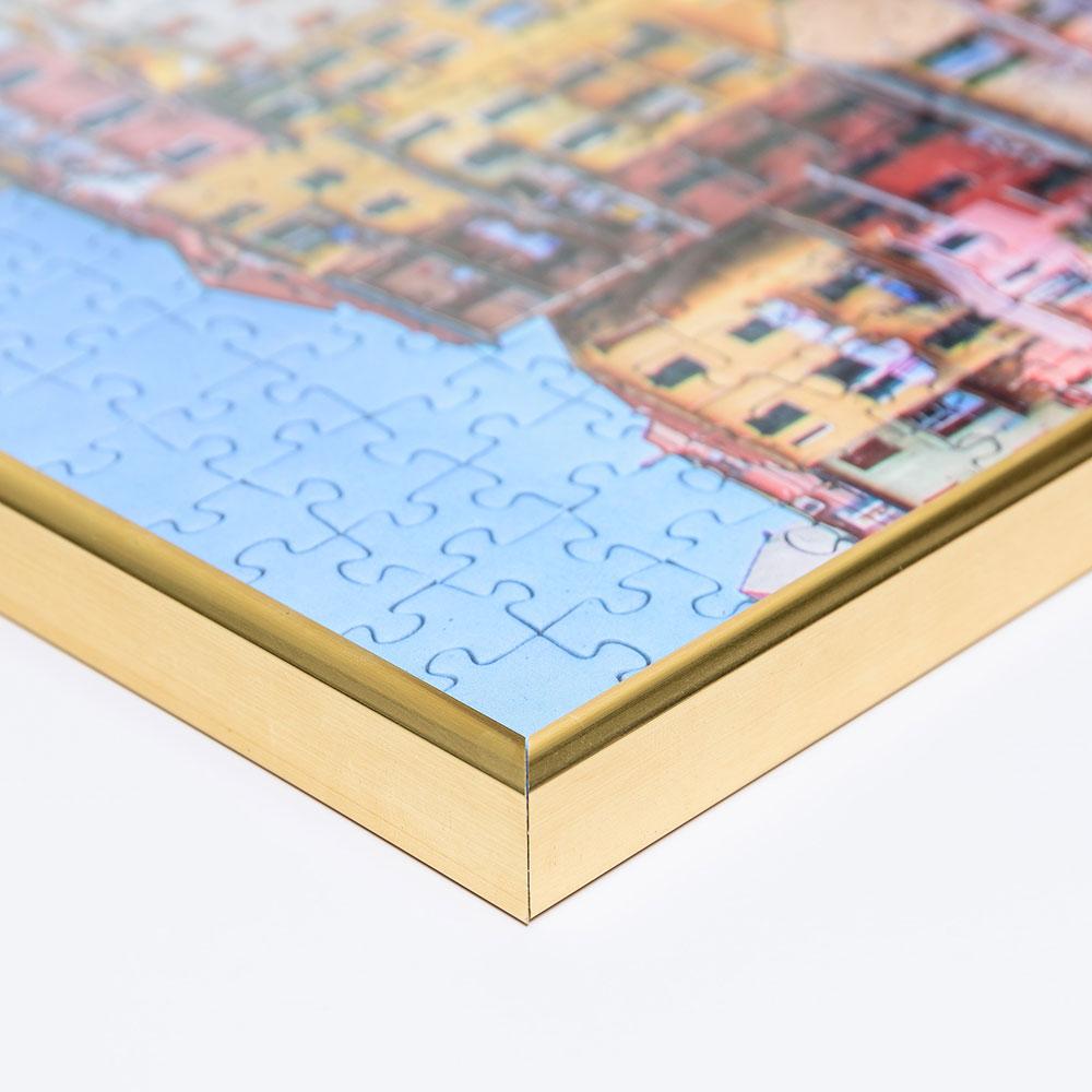 Plast-pusselram för 100 till 500 delar 36x49 cm | guld | Antireflex-Konstglas