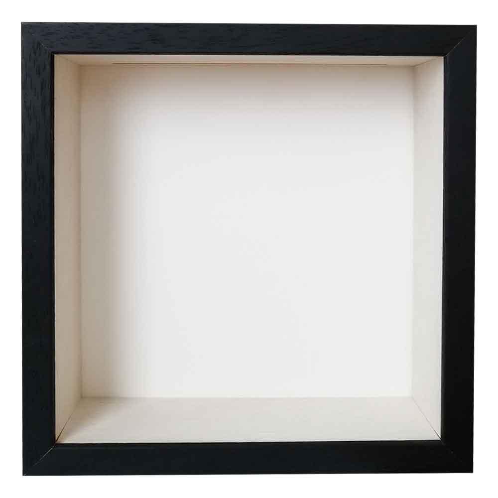 Sparbössa ram 20x20 cm | Schwarz mit weißer Box | standardt glas