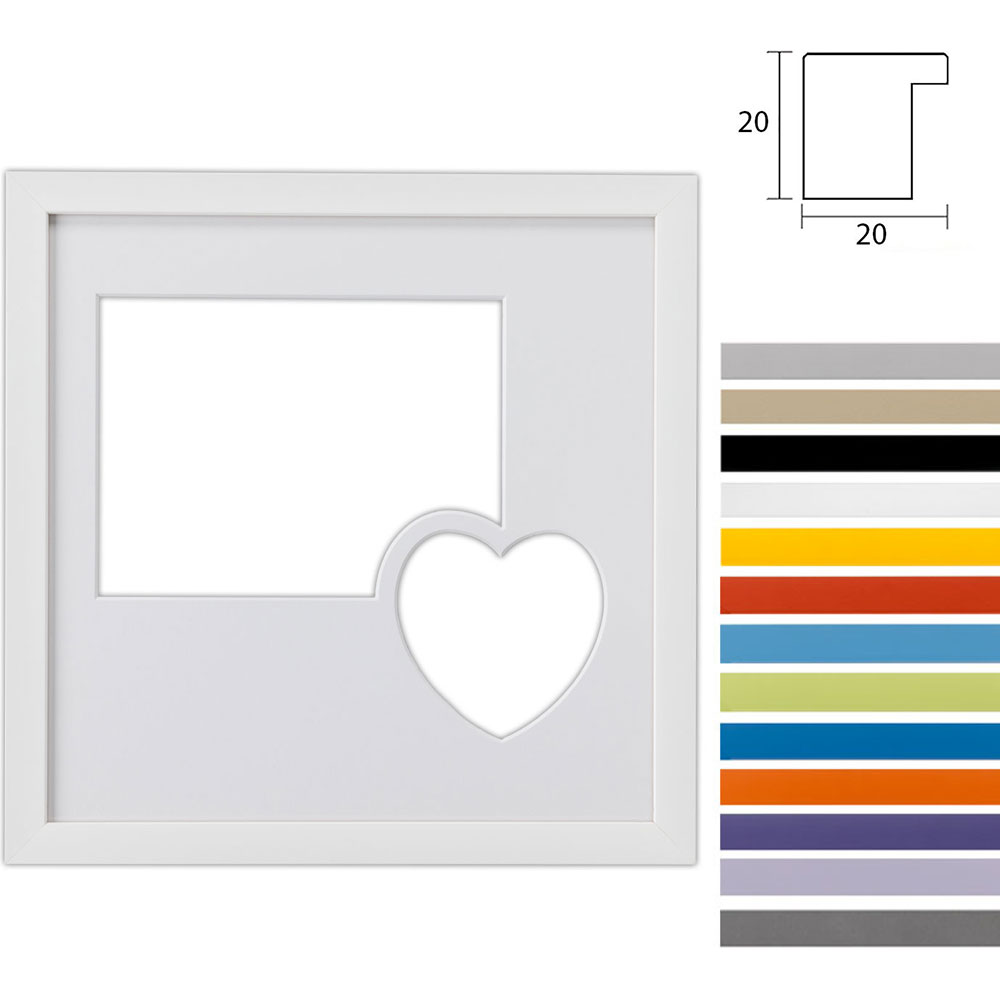 Galleriram Top Cube av trä i in 30x30 cm för 2 foton med hjärta