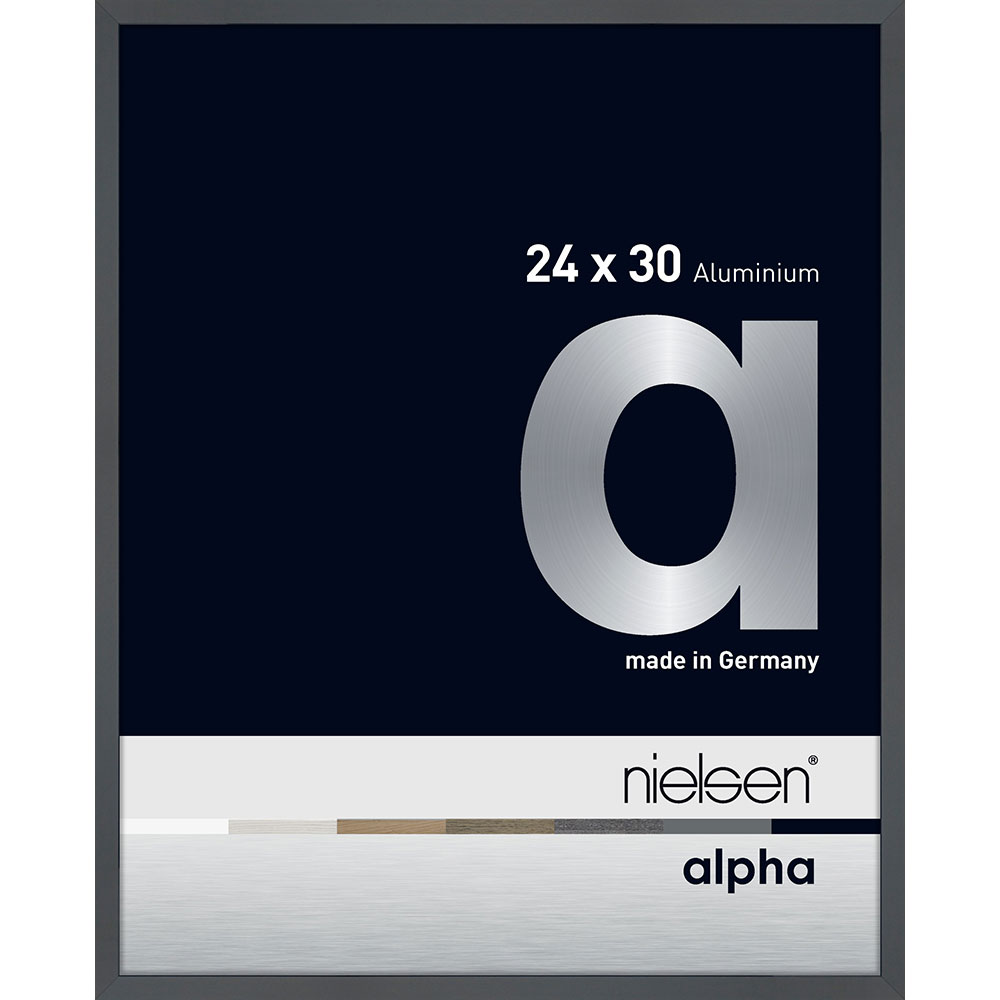 Aluminiumram Alpha 24x30 cm | mörkgrå, blank | standardt glas