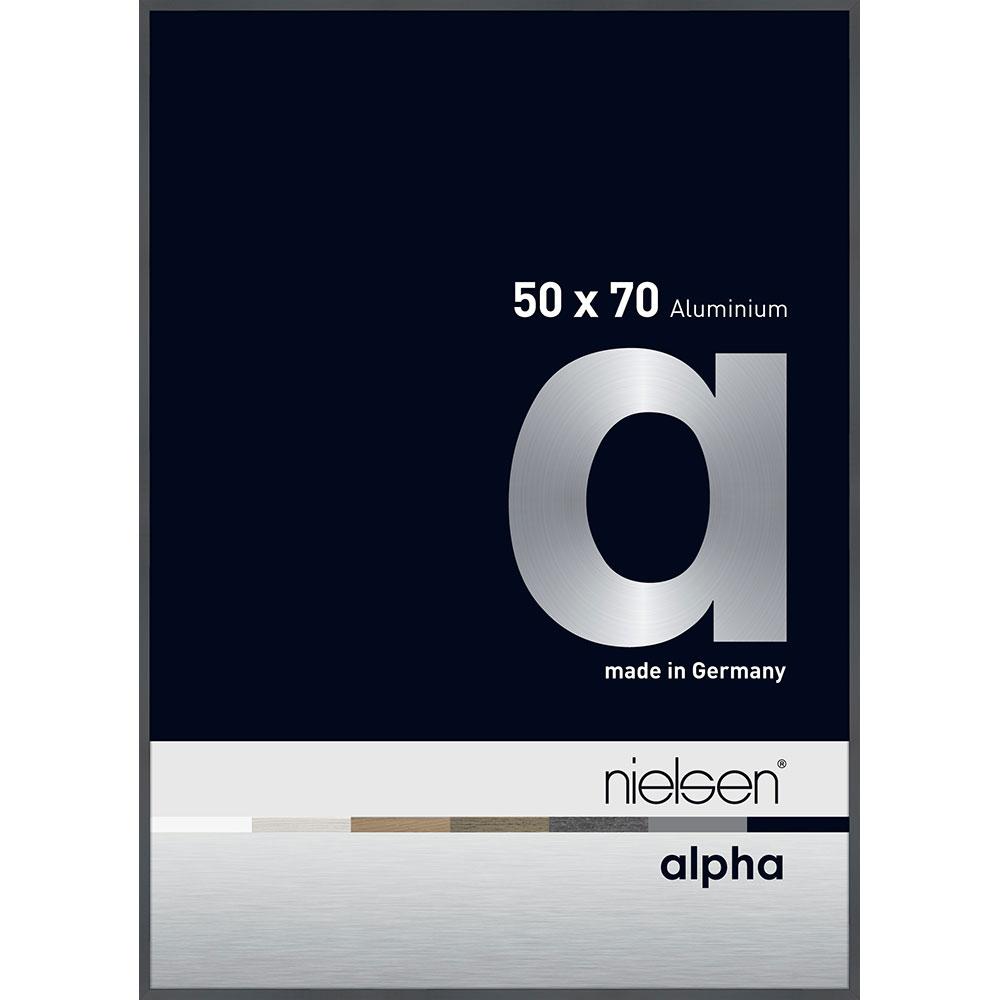 Aluminiumram Alpha 50x70 cm | mörkgrå, blank | standardt glas