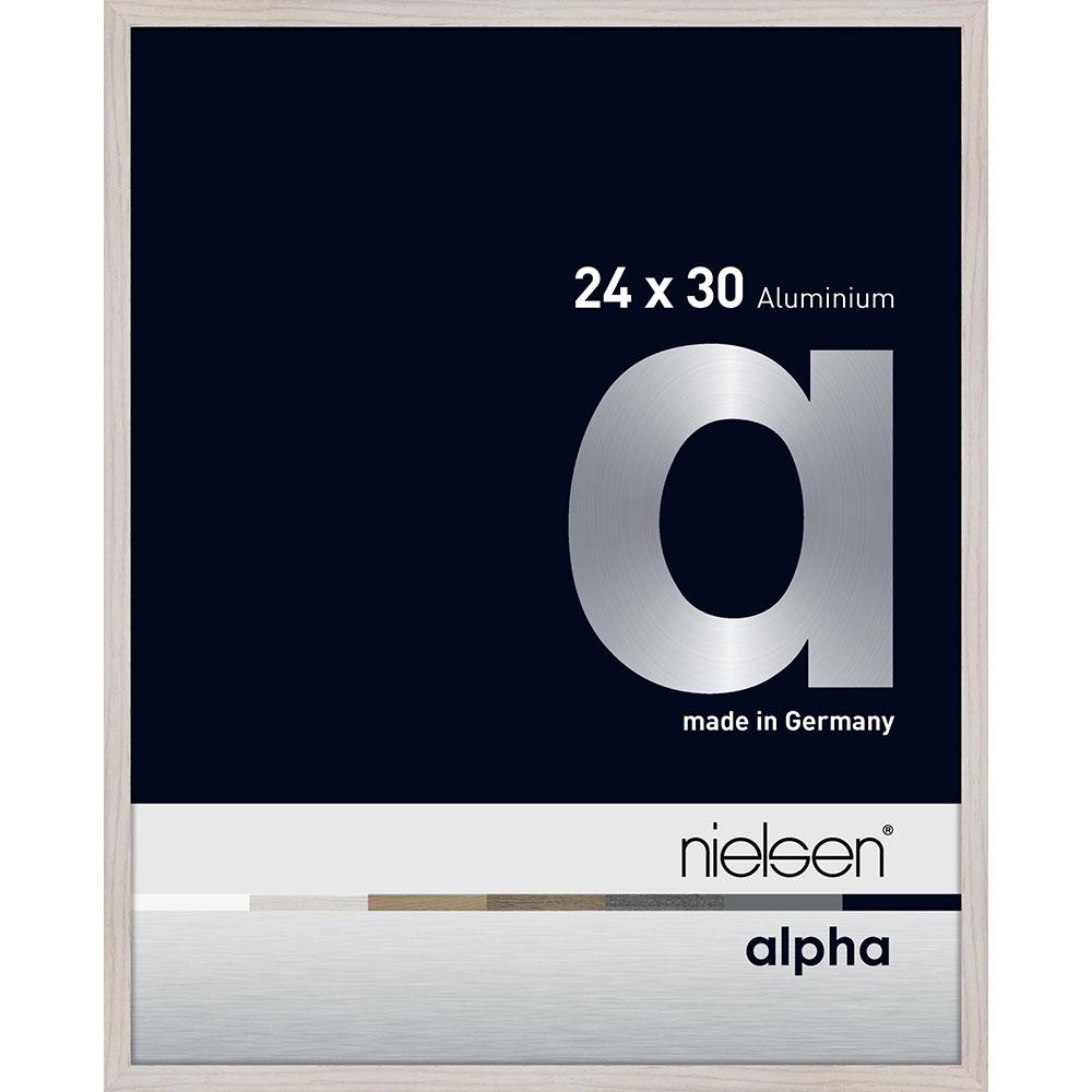 Aluminiumram Alpha 24x30 cm | ek vit (fanerad yta) | standardt glas