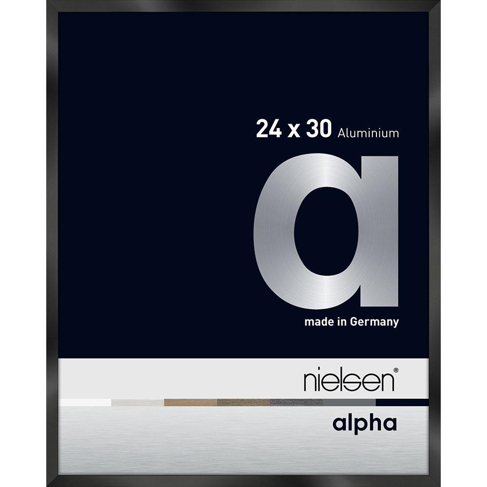 Aluminiumram Alpha 24x30 cm   svart blank eloxerad   standardt glas
