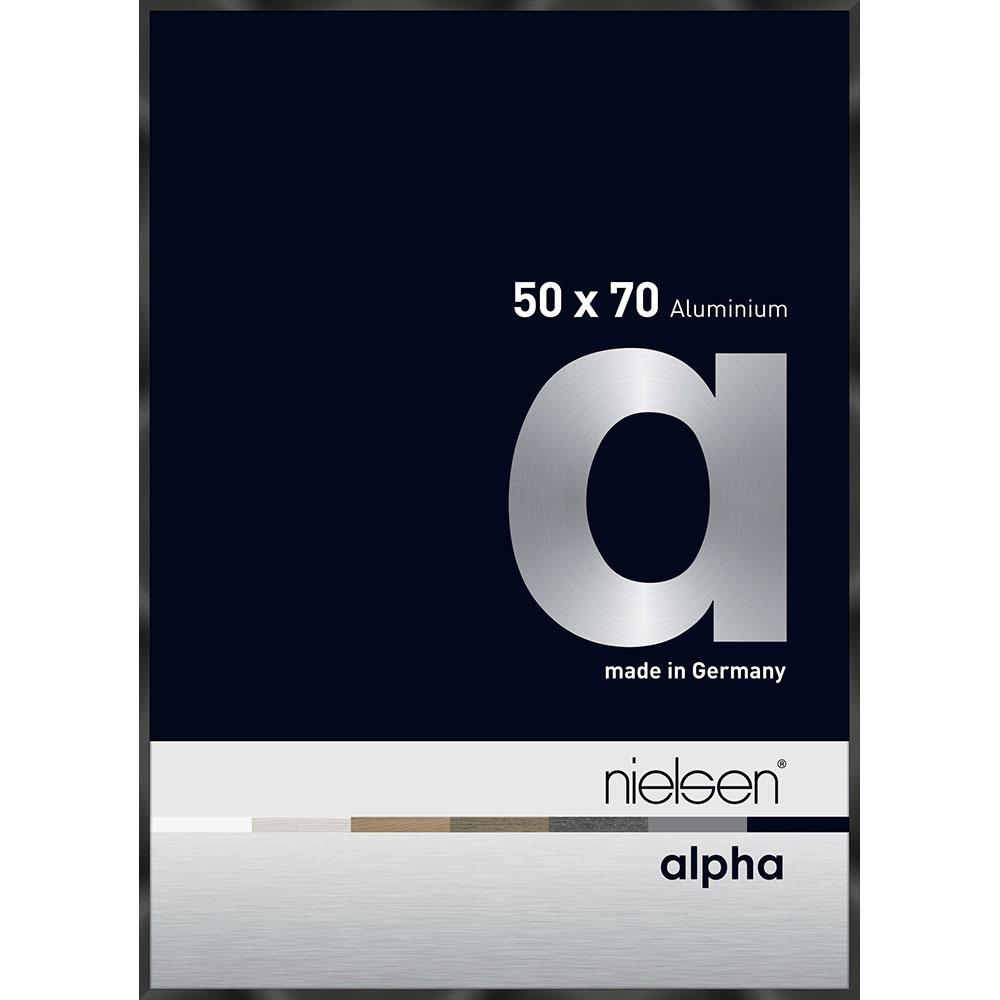 Aluminiumram Alpha 50x70 cm | svart blank eloxerad | standardt glas