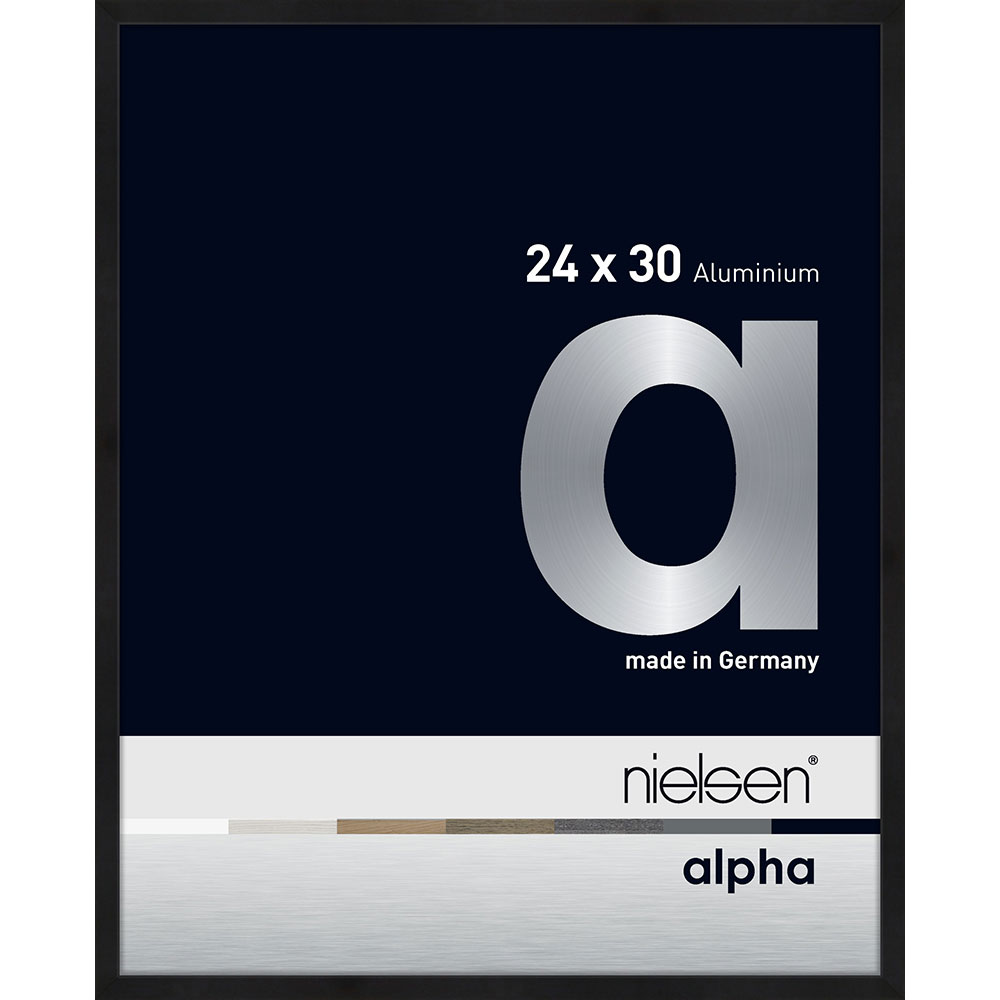 Aluminiumram Alpha 24x30 cm   svart matt eloxerad   standardt glas