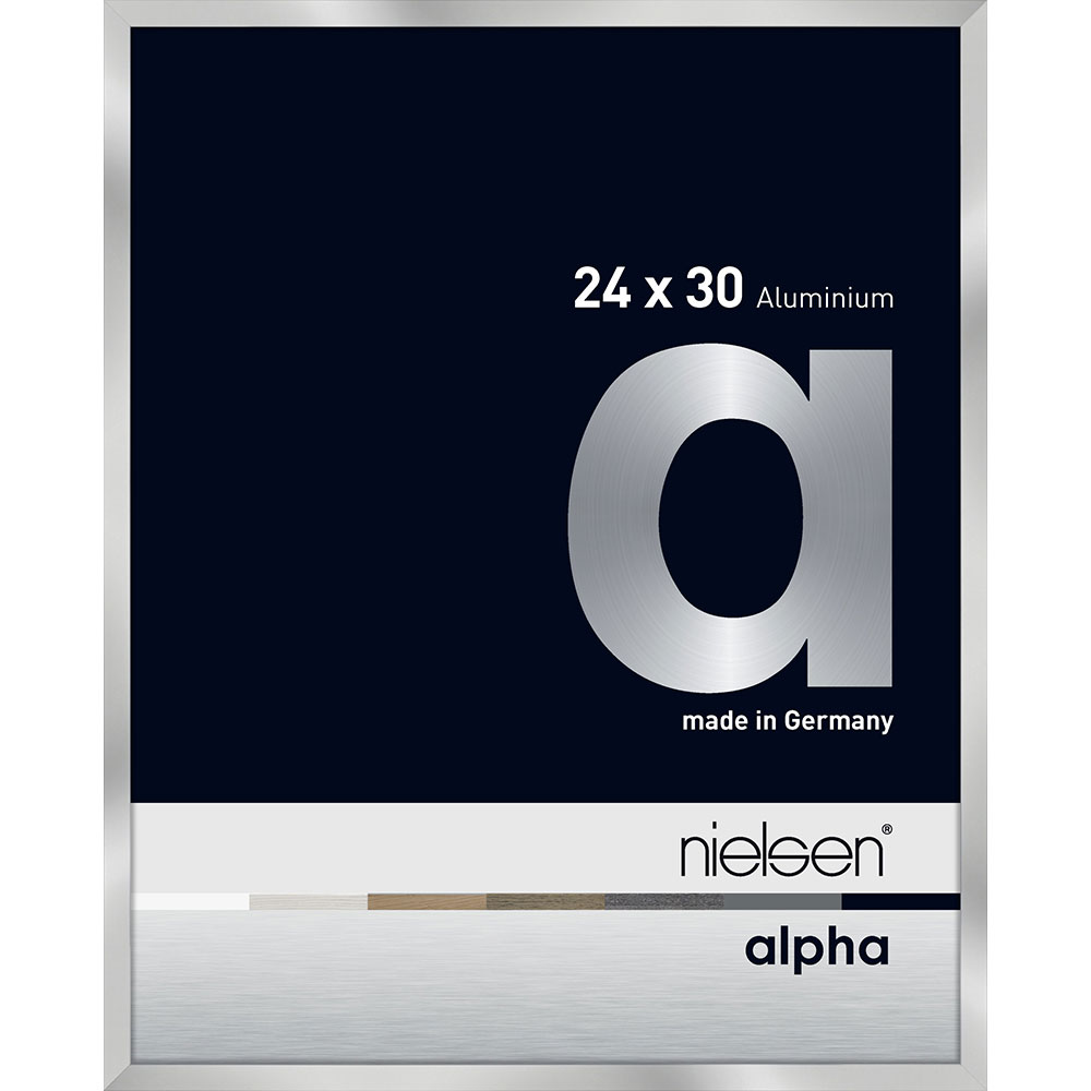 Aluminiumram Alpha 24x30 cm   silver   standardt glas