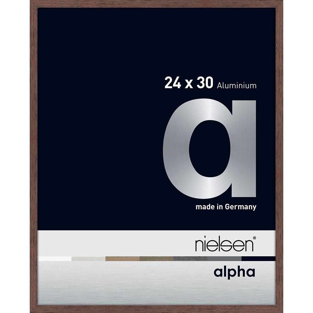 Aluminiumram Alpha 24x30 cm | Wenge hell (furnierte Oberfläche) | standardt glas