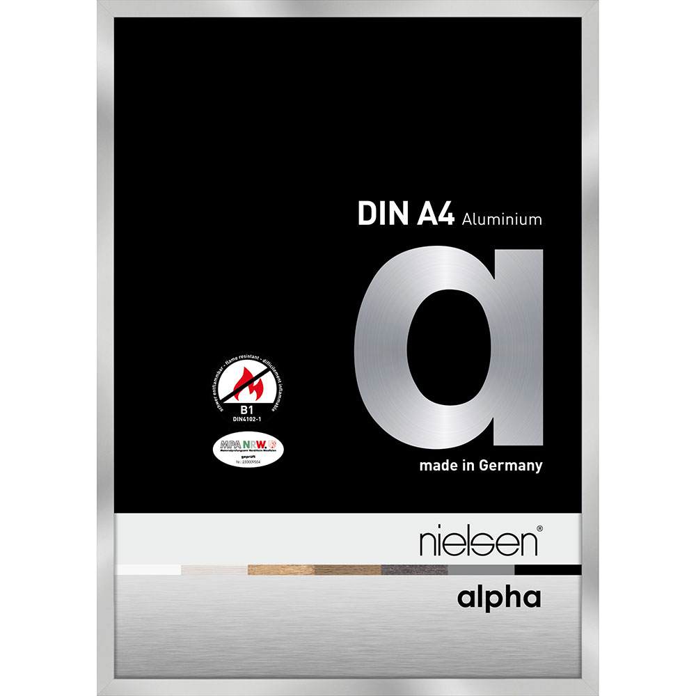 B1 Brandskyddsram Alpha 21x29,7 cm (A4) | silver | standardt glas
