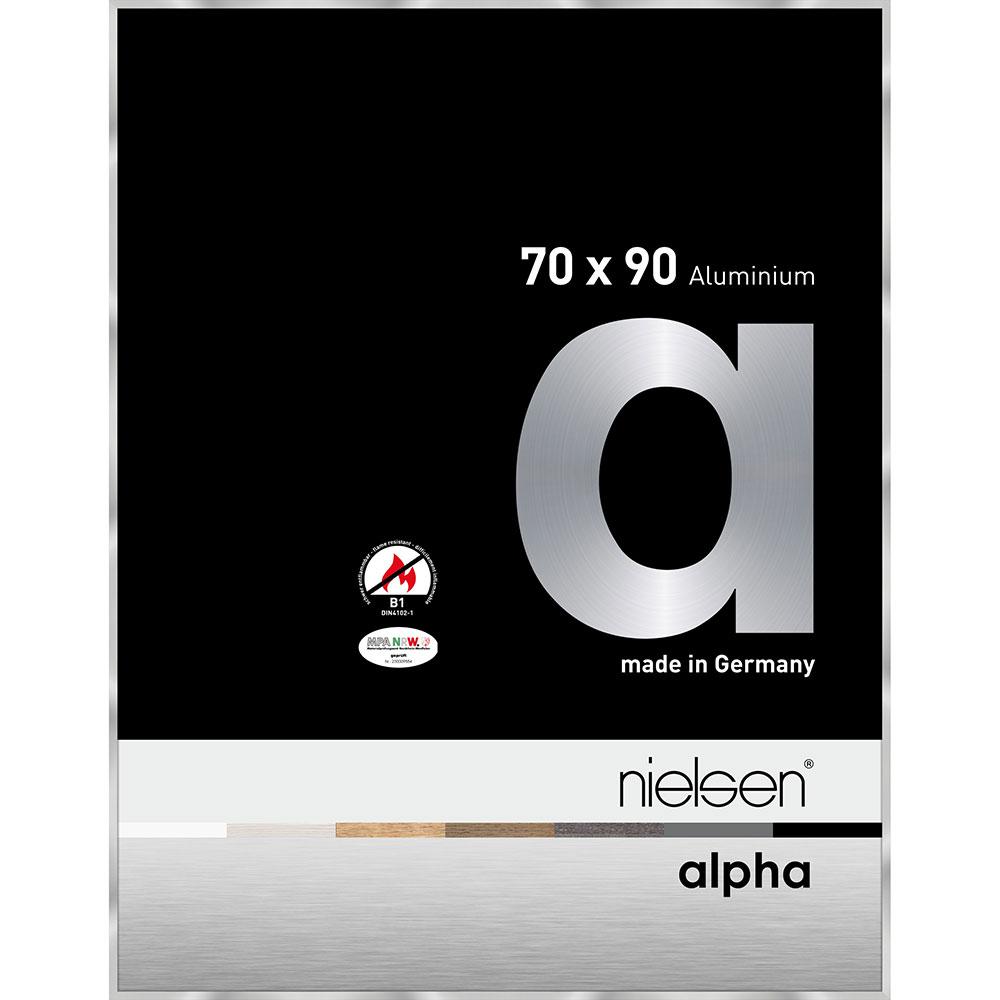 B1 Brandskyddsram Alpha 70x90 cm | silver | standardt glas
