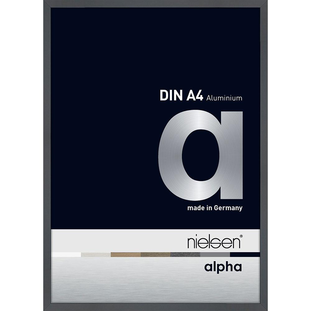 Aluminiumram profil alpha 21x29,7 cm (A4) | mörkgrå, blank | standardt glas
