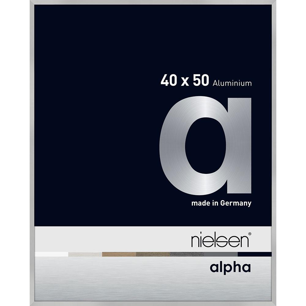 Aluminiumram profil alpha 40x50 cm | silver matt | ClearColour UV92 (Antireflex)