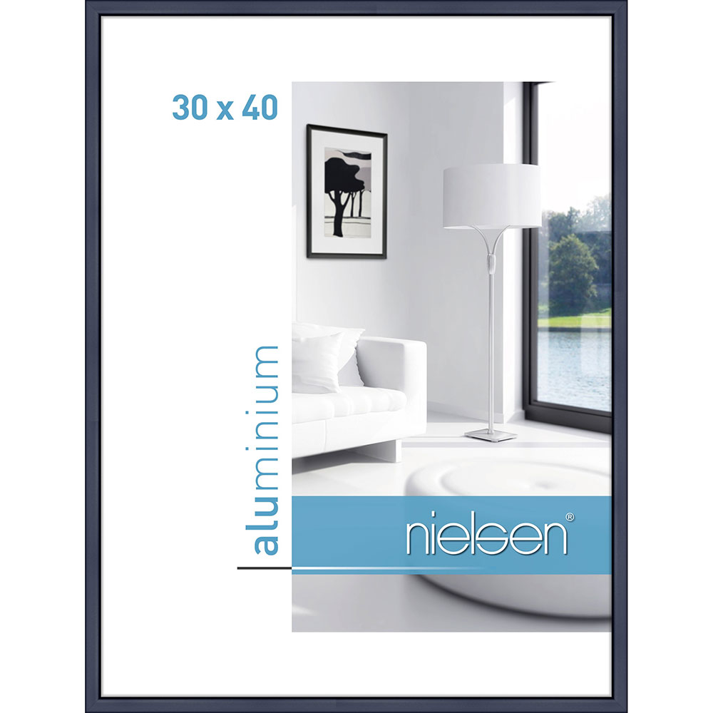 Aluminiumram Classic 30x40 cm | blå | standardt glas
