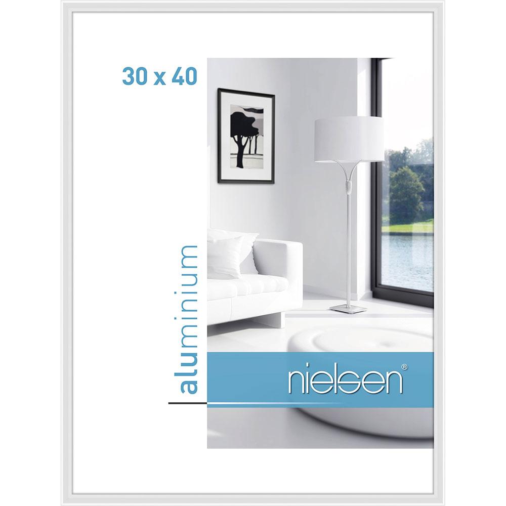 Aluminiumram Classic 30x40 cm   vit blank   standardt glas