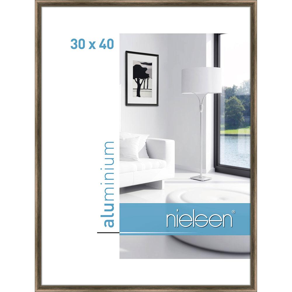 Aluminiumram Classic 30x40 cm | strukturerad valnöt | standardt glas