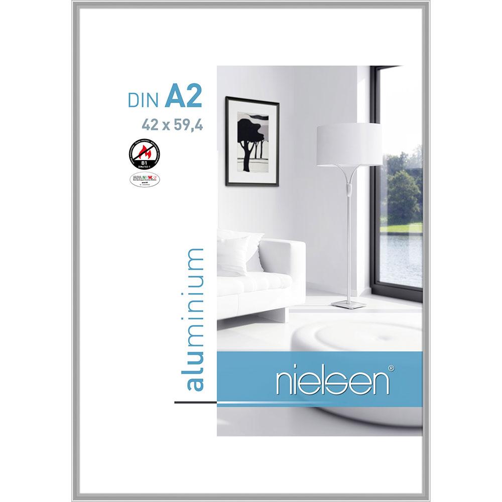 B1 Brandskyddsram Classic 42x59,4 cm (A2)   silver blank   standardt glas