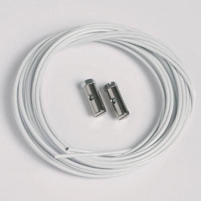 2 stycken stållina vit 1,5mm/200cm med skruvglidfötter