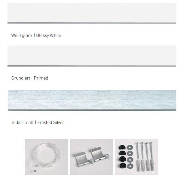 Galleriskena proffs med tillbehör 1,5 m | vit blank