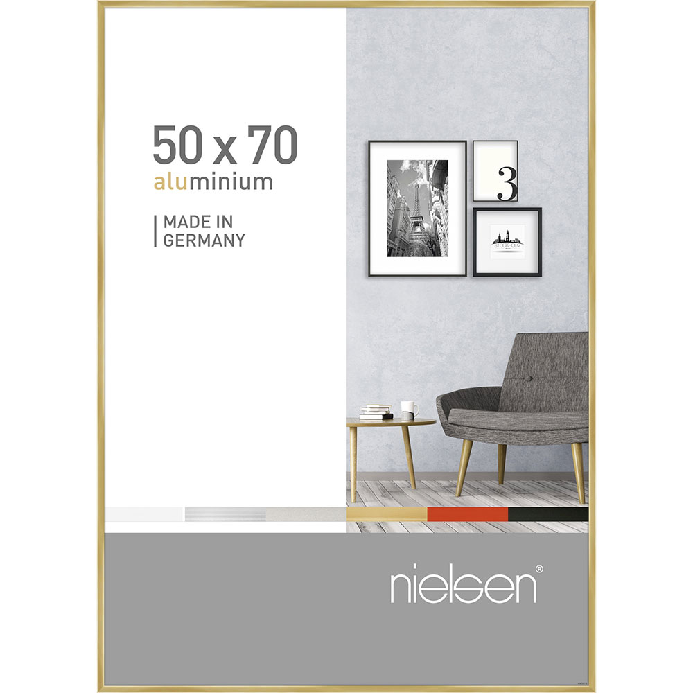 Aluminiumram Pixel 50x70 cm | guld blank | standardt glas