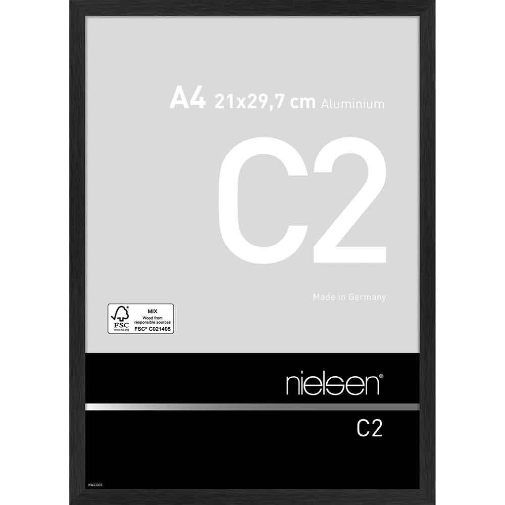 Aluminiumram C2 21x29,7 cm (A4) | svart matt struktur | standardt glas