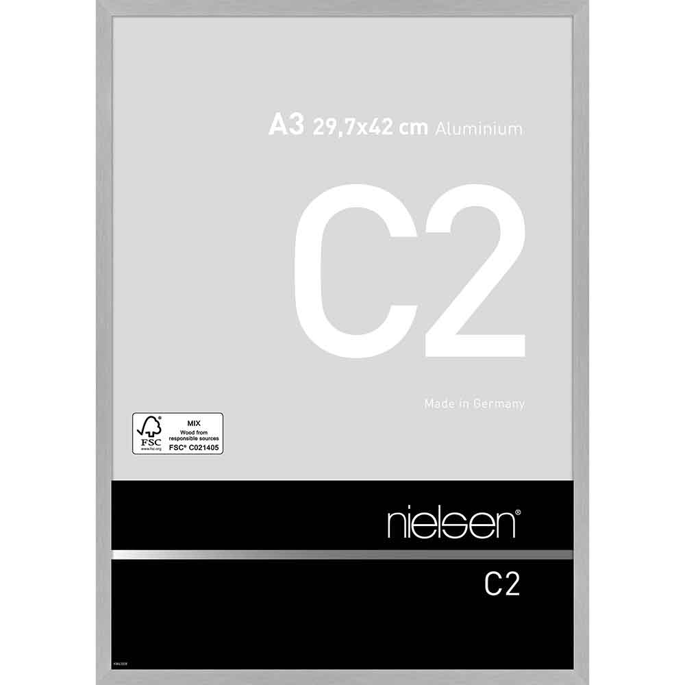 Aluminiumram C2 29,7x42 cm (A3)   silver matt struktur   standardt glas