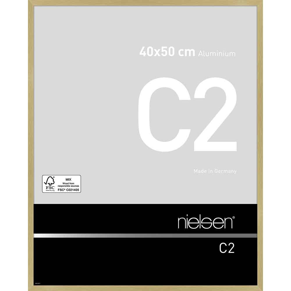 Aluminiumram C2 40x50 cm   struktur guld matt   standardt glas
