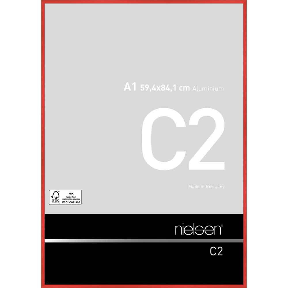 Aluminiumram C2 59,4x84,1 cm (A1) | tornadoröd | standardt glas