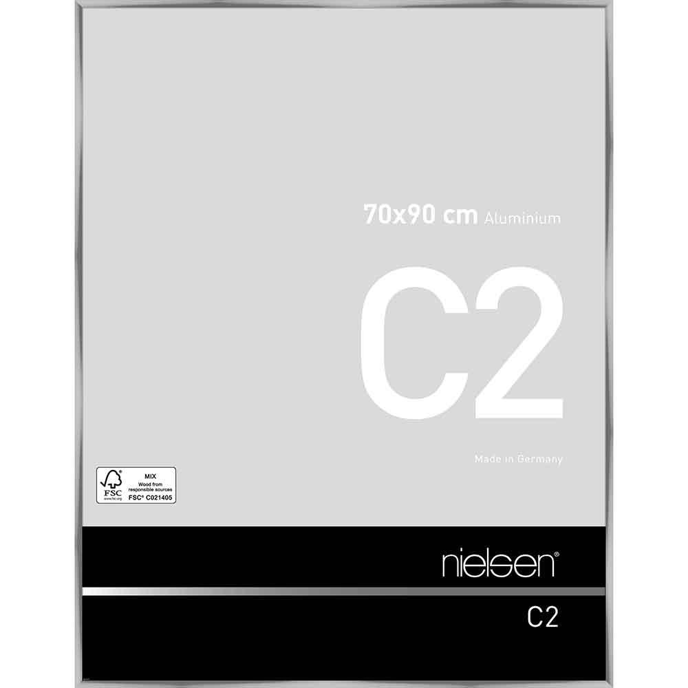 Aluminiumram C2 70x90 cm   silver blank   standardt glas
